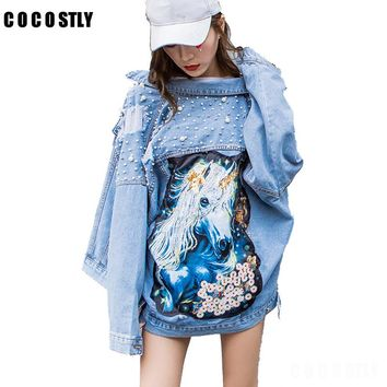 Denim Jacket Women Rhinestone Pearl Beaded Denim Ladies Elegant Vintage Loose Hole Jacket Coat Casacos Feminino