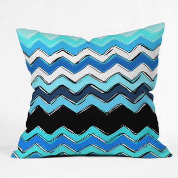 Sharon Turner Ocean Chevron Outdoor Throw Pillow