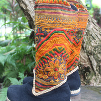 Hayley Womens Vegan Cowboy Boots In Jewel Toned Picturesque Laos Embroidery