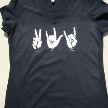 f84c816bfd141 PEACE LOVE ROCK T Shirt - Sign Language - Ladies Black Fitted V