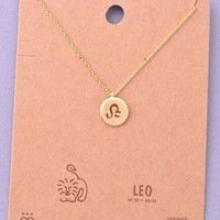 Dainty Circle Coin Leo Zodiac Symbol Necklace - Gold or Silver