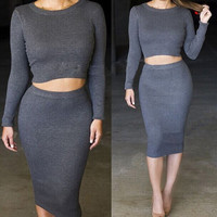 Gray Long Sleeve Cropped Top and High Waisted Pencil Midi Skirt