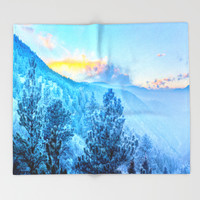 Snow Mountains Throw Blanket by WhimsyRomance&Fun