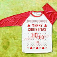 Merry Christmas Tee Shirts Ho Ho Ho Christmas Shirts Merry Christmas TShirts Raglan Tee Red Sleeve Baseball Shirts Women Shirts Men Shirts