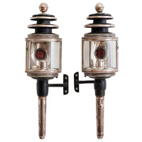 Pair of French Black Tole & Silver Plate Coach Lanterns c.1870