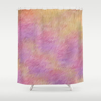 "Shower Curtain - 'Flames' - 71"" x 74"" Home, Bathroom, Bath, Dorm, Girl, Decor, Fantasy, Abstract, Love, Purple, Yellow, Christmas"