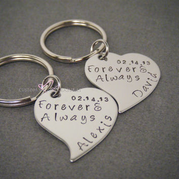 Heart Keychains, Forever & Always Keychains, Date Keychains, Wedding Gift, Wedding gift for Husband, Wedding gift for Bride, Mr Mrs GIft