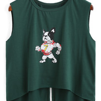 Dog Print Slit Sleeveless Cropped Tank Top