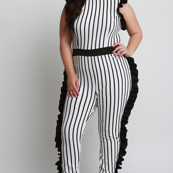 Plus Size Striped Ruffles Jumpsuit | UrbanOG