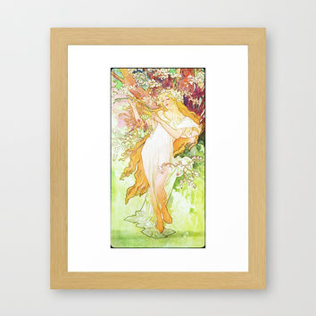 Alphonse Mucha Spring Floral Vintage Art Nouveau Framed Art Print by Art Gallery | Society6