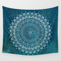 Teal Mandala Wall Tapestry,  geometric mandala,   dorm room decor