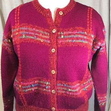 SOUTH WOOL Hand Knit 100% PURE WOOL SWEATER Pink Multi Color CARDIGAN URUGUAY
