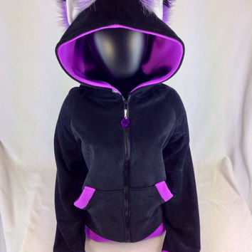 PAWSTAR Special Valentine FOX hoodie kei jacket pink purple goth cyber heart cosplay anime animal furry rave 6150