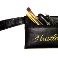 Black Wristlet Wallet Purse Faux Leather with Hustle in Metallic Gold Clutch Handbag for Women on the Go Vegan Leather