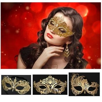 5 Styles Luxury Gold Crown Venetian Metal Laser Cut Wedding Masquerade Mask Dance Cosplay Costume Party Mask