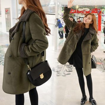 New 2016 Fashion Autumn Winter Women Clothing Suede Leather Faux Fur Jacket Lady Fall Long Sleeve Long Coats Plus Size S-5XL