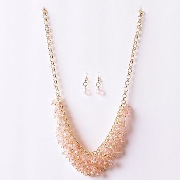 Peach Pink Beaded Crystal & Gold Plastron Necklace & Earring Set