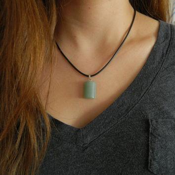 Jade Crystal Necklace with adjustable chord