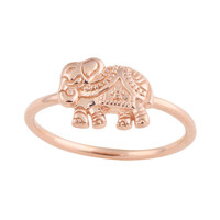 Adorned Elephant Rose Gold Vermeil Ring