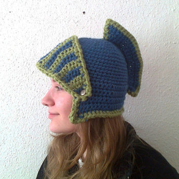 Crocheted Knight Helmet Hat With Movable Visor ,Crochet Slouch Mens Blue Convertible Beanie Hat Handmade Winter Men Snowboard Ski Hat unisex
