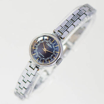 Vintage women watch bracelet Glory. Navy face lady watch gift her gift. Cocktail watch for women. Watch sunburst face. Big wrist watch 80s