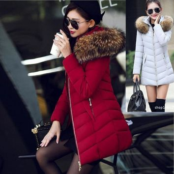 2017 Winter Women Slim Fit Casual Fur Hoodie Cotton Coat Down Coat Jacket Outwear BA0612