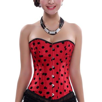 Dot Lace up Polka Overbust Corset body shaper Costume Burlesque Bustier slimming control Lingerie Plus size S-2XL