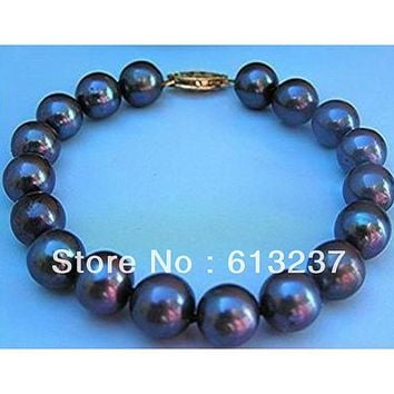 TAHITIAN BLACK PEARL 8-9mm  loose beads handmade bracelet 7.5""