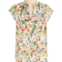 ModCloth Mid-length Cap Sleeves Backyard Garden Top in White