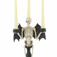 Benzara Spooky Skeleton Halloween Themed Candle Holder