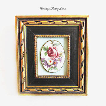 Miniature Vintage Wall Art, Framed Floral Cameo