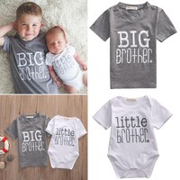 Pudcoco Brothers Matching Little Brother Baby Boy Romper and Big Brother T-shirt Family Matching Clothes