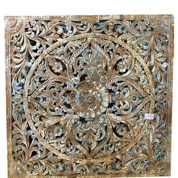 Hand-carved Lotus Wall Panel - Antique Blue Patina Floral Carving India Art Wall Sculpture