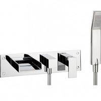 Crosswater Square Bath 3 Hole Set with Kit and Diverter Tap - Bathwise Ltd