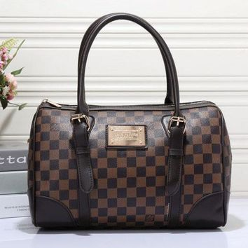 LV Fashion Trending Women Shopping Bag Leather Tote Handbag Shoulder Bag  Coffee plaid G-MYJSY-BB