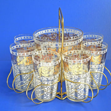 Vintage / Retro Hostess Set: 8 White & Goldleaf Glasses, Glass Ice Bucket and Goldtone Caddy 1950s / 1960s