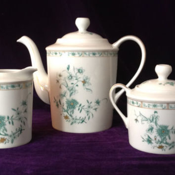 Vintage Limoges - Elegant Bernardaud Pekin set - teapot, creamer & sugar bowl - Wedding/Birthday/Engagement/Shower/Mother's Day gift