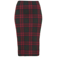 TOPSHOP Multi Check Tube Skirt