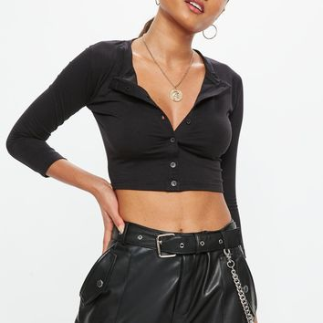 Missguided - Black Button Front Crop Top