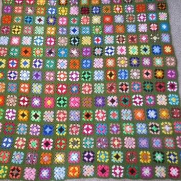 Large Colorful Granny Square Afghan - Cottage Chic, Retro Bedding