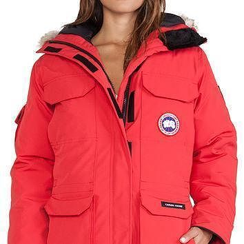 Canada Goose Expedition Parka With Coyote Fur Trim In Red - Boaety