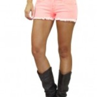 Neon Coral Denim Shorts