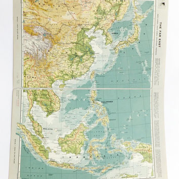 Very Large Far East map, Vintage Map of the Far East, travel souvenir