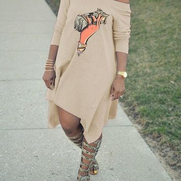 New Apricot Money Print One Off Shoulder Irregular Party Midi Dress