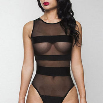 Black Mesh Bandage Highlight One-piece Swimwear