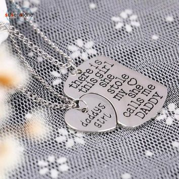 2PC Family Charm Gifts Heart Love Necklace pendant Daughter Dad Mother
