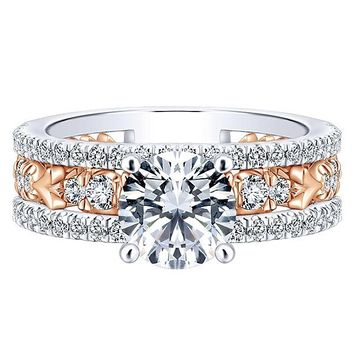 18K Rose and White Gold Stacked Vintage Style Diamond Engagement Ring