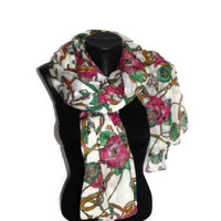 Roses & Chain Scarf - White Floral Scarf - Fashion Scarf - Unique Shawl - Pareo - Trendy Fabric Scarf - Spring Trends - Gift Idea