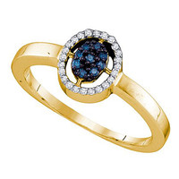 Blue Diamond Fashion Ring in 10k Gold 0.17 ctw