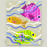 Swimming Fishes Art Print by yetzenialeiva on BoomBoomPrints